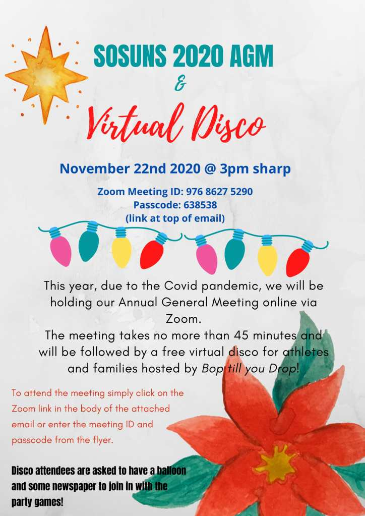 Flyer for the 2020 SOSUNS AGM. The event will start at 3pm sharp on 22nd November 2020. The meeting will take no more than 45 minutes and will be followed by a free virtual disco.
